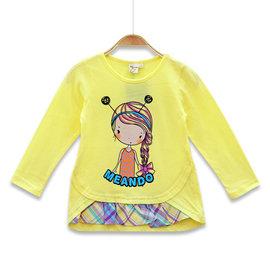 ~捷比 ~MeAnDo米果~JM5152~ 拓印辮子女孩圖案拼接格紋下襬長袖上衣~二色