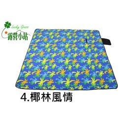 大林小草~【ZK-004-藍條紋】高級絨毛加厚野餐墊 150x200cm 帳篷內墊 (防水鋁膜底)