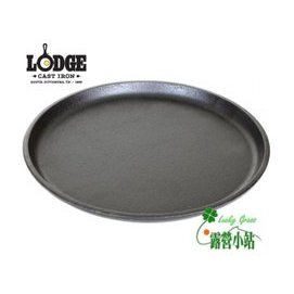大林小草~【L7OGH3】美國製LODGE 9.25吋 圓型平底煎盤 鑄鐵鍋/荷蘭鍋/鐵板燒盤 (免開鍋)