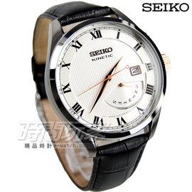 SEIKO 精工錶 羅馬 機械腕錶 真皮錶帶 男錶 不�袗�帶 黑x銀x玫瑰金 SRN07