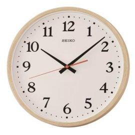附發票~時間光廊~SEIKO  精工掛鐘 圓型 白底 塑膠殼木紋框 滑動式秒針 QXA66