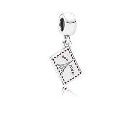 美國 正品 Pandora 潘朵拉 明信片銀耳環紅色和藍色琺瑯 791711 7^~14工
