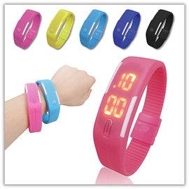 【Q禮品】B2807 電子矽膠運動錶/觸控電子錶/LED運動手環錶/超輕量/路跑運動/磁吸錶扣/馬卡龍電子表