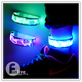 【Q禮品】A2802 LED魔鬼氈迷彩臂帶/發光手環/腳環/LED綁腿帶/警示燈/自行車路跑活動/寵物發光項圈/反光條