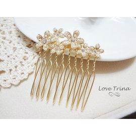 ~Love Trina~韓國 ~正韓~6916~0119 珍珠碎鑽大小花朵髮插 髮梳 髮飾