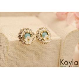 ~Kayla~貝殼小花 精緻 耳環 低敏鈦鋼針 韓國連線^~飾品