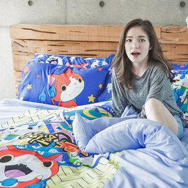 床包被套組  雙人~妖怪手錶 ~ 武士慶典~含兩件枕套,迪士尼卡通混紡精梳棉,戀家