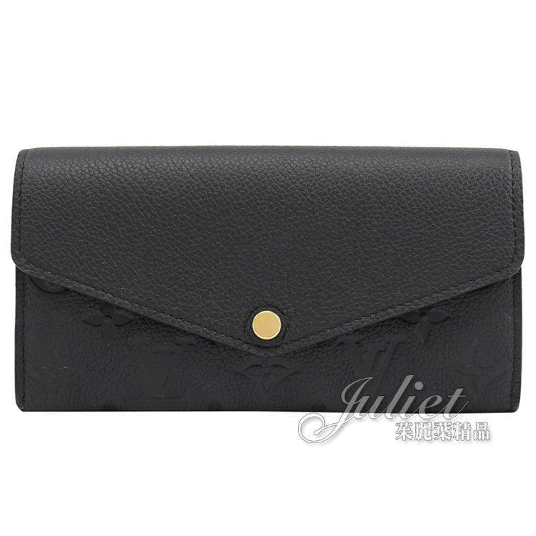 Louis Vuitton LV M61182 Sarah 花紋全皮革壓紋扣式長夾.黑 簡