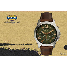 ~時間道~〔FOSSIL~錶〕 新 主義中性計時羅馬刻度腕錶 綠面咖啡皮^(FS5153^