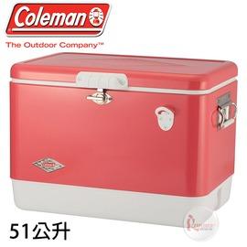 探險家戶外用品㊣CM-04166 美國Coleman  51L 草莓紅經典鋼甲冰箱60周年紀念款 不鏽鋼冰箱附開瓶器冰桶冰筒行動冰箱