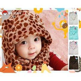冬季限定 寶寶超柔毛絨豹紋連帽圍脖/雙球小耳朵護耳帽(多款可挑)【HH婦幼館】