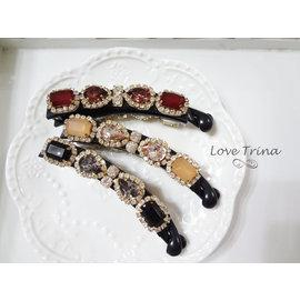 ~Love Trina~韓國 ~正韓✈5929~宮廷風寶石小鑽香蕉夾~髮飾^(3色^)