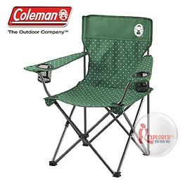 探險家戶外用品㊣CM-26735 美國Coleman 圓點綠渡假休閒椅 置杯架摺疊椅折疊椅折合椅導演椅摺合椅露營椅