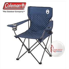 探險家戶外用品㊣CM-26736 美國Coleman 圓點海軍藍渡假休閒椅 置杯架摺疊椅折疊椅折合椅導演椅摺合椅露營椅