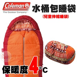 探險家戶外用品㊣CM-27271 美國Coleman 4度橘色伸縮兒童睡袋 寢袋可機洗 化纖睡袋露營寢袋