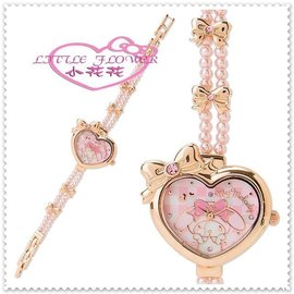 小花花 ~ Hello Kitty 美樂蒂 手錶手表 鍊錶 玫瑰金 心型大臉珠珠 9992