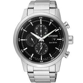 CITIZEN 光動能競速時尚 三眼計時腕錶-黑_43mm CA0610-52E