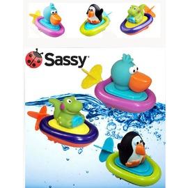 美國Sassy動物小船 寶寶洗澡玩具 拉繩發條 嬰幼兒戲水 兒童玩水