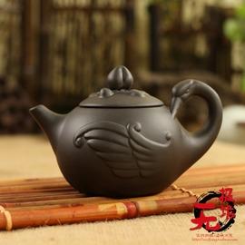 紫砂壺宜興朱泥西施壺功夫茶具仿古茶壺陶瓷沖沏 仙鶴拜壽壺
