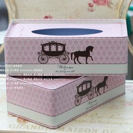 甜美可可紙巾盒創意收納馬口鐵盒抽紙盒紙巾套餐巾紙盒 粉紅公主