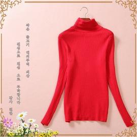 簡約修身純色百搭高領打底針織衫毛衣外貿女裝尾單