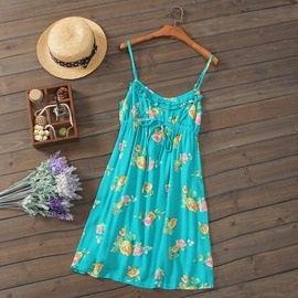 波西米亞顯瘦田園碎花吊帶連衣裙度假裙沙灘裙外貿出口女裝
