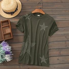 簡約百搭顯瘦圓領短袖薄五角星星大碼T恤衫外貿出口女裝