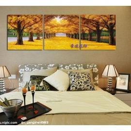 0黃金大道 壁畫掛畫裝飾畫客廳三聯水晶畫專業無框畫 定做臥室
