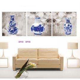 6 中式花瓶裝飾畫客廳三聯 無框畫掛鐘壁畫掛畫 臥室書房