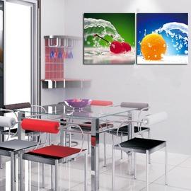 6櫻桃水果室內裝飾畫 餐廳無框畫 掛鐘壁畫掛畫 客廳兩聯