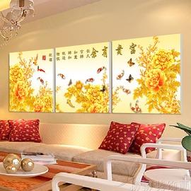 水晶畫壁畫三聯畫無框畫噴畫 抽象人物裝飾畫天使愛花無框畫臥室床頭掛畫