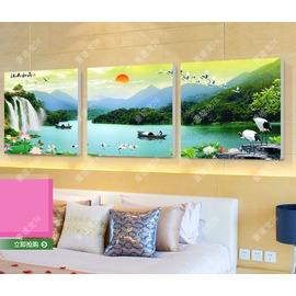 2青山綠水風景畫江山如畫 沙發背景�棫e掛畫壁畫裝飾畫無框畫三聯