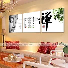 5字畫禪佛像裝飾畫 簡約 沙發背景�棫e無框畫書房三聯定制