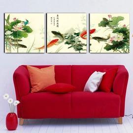 6魚戲新荷圖 簡約無框畫 �棫e 掛畫 掛畫客廳裝飾畫臥室房定做