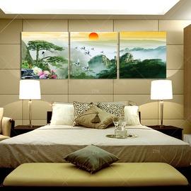 8風景畫山無框畫新房客廳裝飾畫電視背景�棱噩e辦公室三聯定做