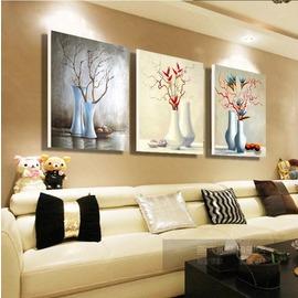 抽象花瓶三聯裝飾畫 賓館酒店客廳臥室無框畫 家居掛畫 水晶壁畫