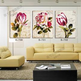 歐式復古仿真油畫 花卉三聯無框畫 簡約高檔家居裝飾畫壁畫掛畫