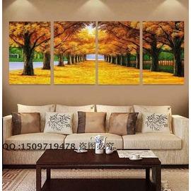 裝飾畫無框畫客廳臥室掛畫餐廳壁畫墻畫現代四聯畫黃金大道AAA