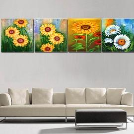 向陽花 仿油畫 家居裝飾畫 �棫e壁畫 掛畫 客廳無框畫 四聯畫