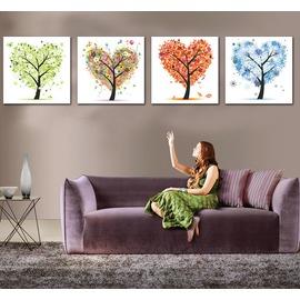 幸福樹 發財樹 家居裝飾畫 �椈彌噩e 無框畫 抽象 餐廳客廳四聯畫