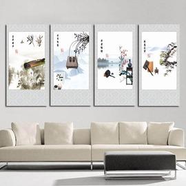 琴棋書畫古典 中式裝飾畫壁掛畫單幅四聯畫客廳辦公室書房無框畫