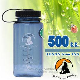 【台灣 山貓-500cc】美國 LEXAN 環保無毒彩色大寬口水壺(耐熱 ±130℃_不含雙酚A).運動隨身水瓶/歐盟食品級認證.同NALGENE/W-500 夢幻灰