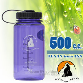【台灣 山貓-500cc】美國 LEXAN 環保無毒彩色大寬口水壺(耐熱 ±130℃_不含雙酚A).運動隨身水瓶/歐盟食品級認證.同NALGENE/W-500 水晶紫