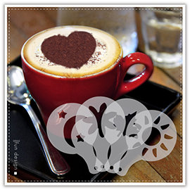 【Q禮品】B2834 拉花模具-16入/花式咖啡/印花模型/奶泡/噴花模板/蛋糕裝飾/糖霜 糖粉篩/烘培