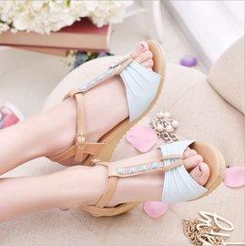 款 涼鞋女鞋 中跟平底沙灘鞋 純色露趾
