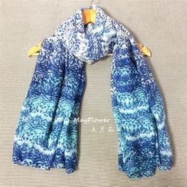 民族風藍白色條紋漸變蠟染青花瓷印花復古學生女士OL棉麻長圍巾