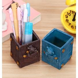 J2314 古典小熊筆筒  學生筆插做舊工藝桌面樹脂擺件