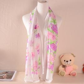 X2422 水墨山花雪紡長巾 突顯優雅氣質女孩最愛  女孩的