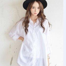 美麗大街~IR1990~甜美翻領寬鬆白色長袖襯衫