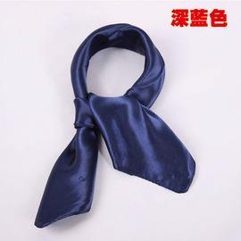深藍色 純色小方巾女士男單色圍巾頸巾素色真絲職業小絲巾